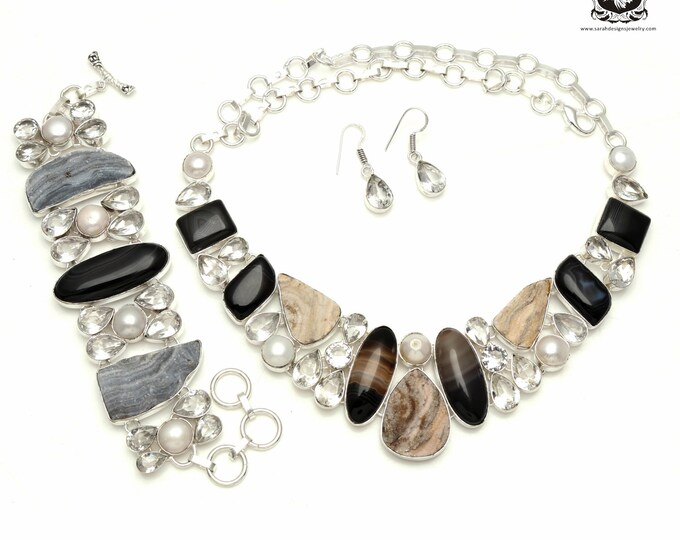 Top Notch! Desert DRUZY Drusy Banded Agate 925 Sterling Silver + Copper Bonded Necklace Bracelet & Earrings ALL Included SET535