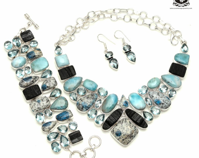Too SEXY! K2 Jasper LARIMAR Blue Topaz Tourmaline 925 Sterling Silver + Copper Bonded Necklace Bracelet & Earrings ALL Included SET541