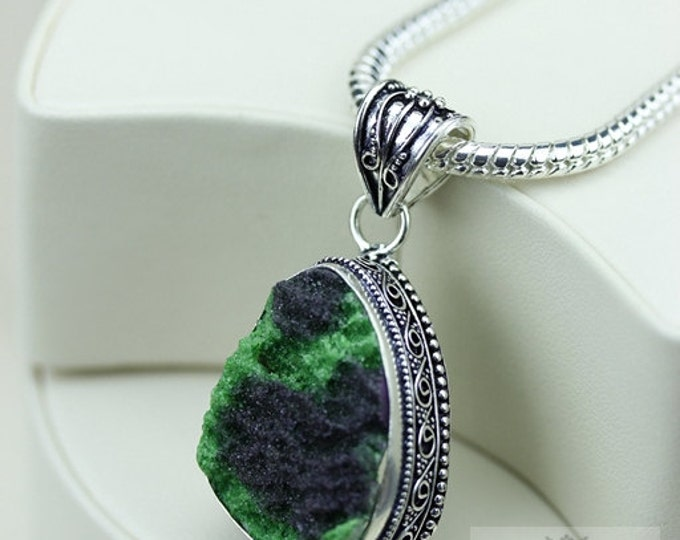 Druzy Vintage Filigree Setting 925 S0LID Sterling Silver Pendant + 4mm Snake Chain & FREE Shipping p3369