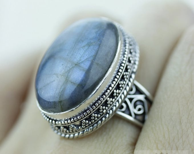 Size 8.5 Labradorite 925 S0LID (Nickel Free) Sterling Silver Vintage Setting Ring r1800