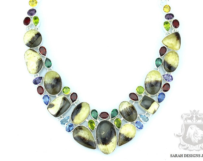 SEPTARIAN NODULE Mud CRACK Fossil Garnet Peridot 925 Solid Sterling Silver Necklace n372