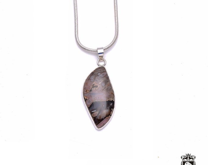 STICK AGATE Fine 925+ 975 S0LID Sterling Silver Pendant + Snake Chain P6232
