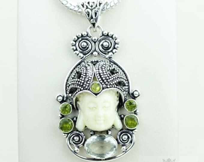 Cute! Kwan Yin Guanyin BUDDHA Goddess Face Moon Face 925 S0LID Sterling Silver Pendant + 4MM Chain & Free Shipping p3810