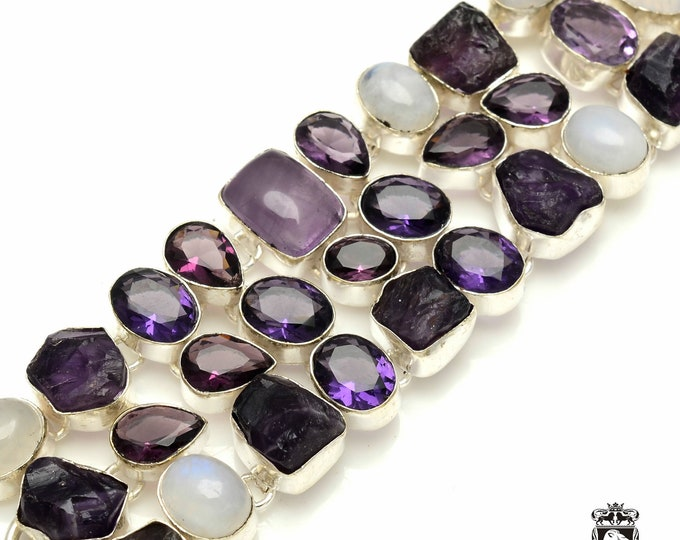 Rainbow MOONSTONE Amethyst 925 Sterling Silver + Copper Bonded Bracelet & Worldwide Express Tracked Shipping B3188
