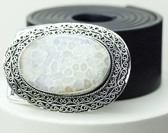 Can't Beat this Price! Fossilized Bali Coral Vintage Filigree Antique 925 Fine S0LID Sterling Silver + Copper BELT Buckle T32