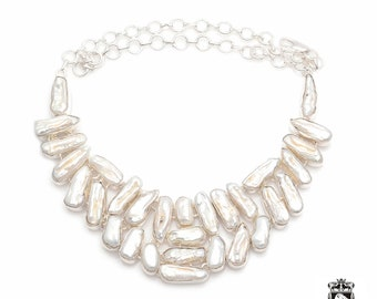 Freshwater FLAT Pearl Multi-Layered Combination 925 Sterling Silver + Copper Bonded Necklace & Worldwide Express Tracked Shipping N0060