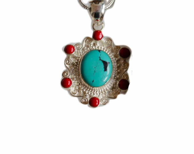 Antique Filigree Turquoise Coral 925 Sterling Silver + BONDED Copper Pendant Chain & Worldwide Shipping p4471