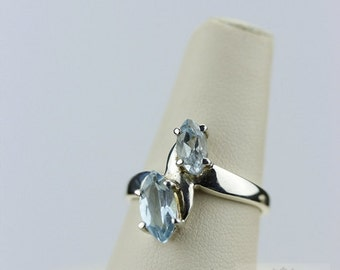 Size 7.5 AQUAMARINE MARQUISE Cut (Nickel Free) 925 Fine Sterling Silver Ring & Free Worldwide Express Shipping r106