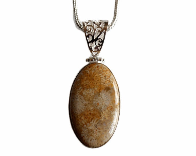 Fossilized Bali Coral Antique Filigree 925 Sterling Silver + BONDED Copper Pendant Snake Chain & Worldwide Shipping p4428