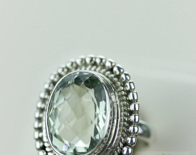 Size 6 FILIGREE VINTAGE PRASIOLITE (Nickel Free) 925 Fine S0LID Sterling Silver Ring & Free Worldwide Express Shipping r843