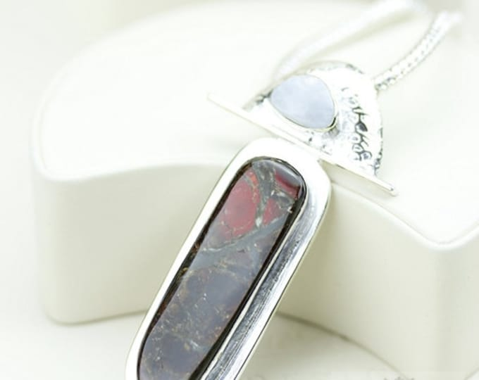 Flashes of Red! GENUINE Canadian AMMOLITE 925 Solid Sterling Silver Pendant + 4mm Snake Chain & FREE Worldwide Shipping P1604