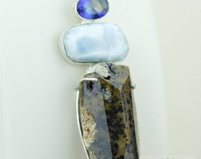 OPALIZED PETRIFIED WOOD Fossil Larimar Mystic Topaz 925 S0LID Sterling Silver Pendant + 4mm Snake Chain & Free Worldwide Shipping mp343
