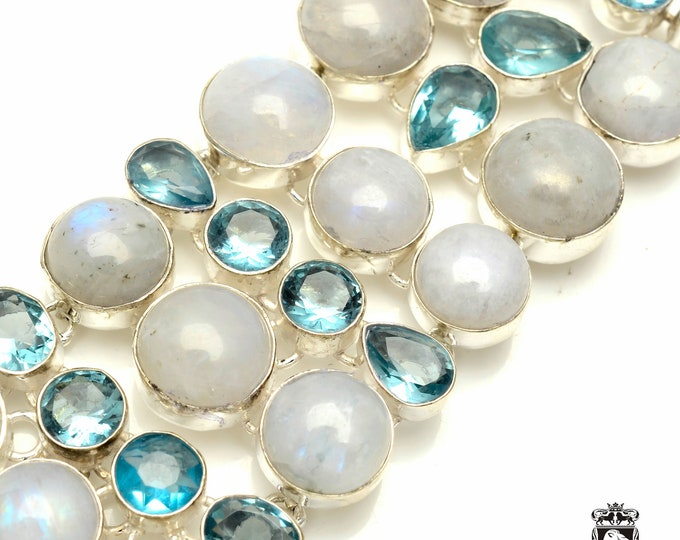 Cute and Chunky! TRIPLE Layered MOONSTONE Blue Topaz 925 Sterling Silver + Copper Bonded Bracelet & Worldwide Express Tracked Shipping B3300