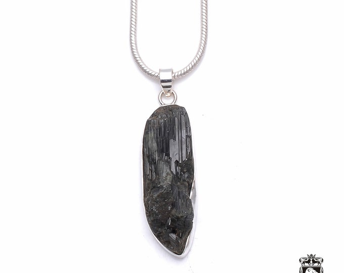 AMAZING BLACK TOURMALINE Fine 925+ 975 S0LID Sterling Silver Pendant + Snake Chain P6286
