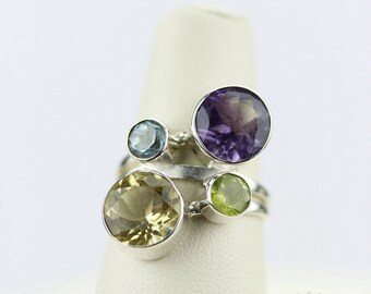 Size 6 CITRINE TOPAZ PERIDOT (Nickel Free) 925 Fine Sterling Silver Ring & Free Worldwide Express Shipping r92