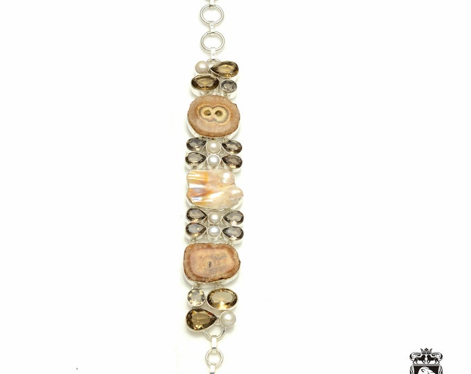Looks great on the wrist! Smokey Quartz STALACTITE 925 Sterling Silver + Copper Bonded Bracelet & Worldwide Express Tracked Shipping b3335