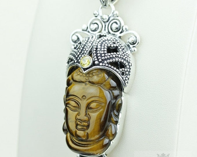 Inimitable Concept! Tiger's Eye Kwan Yin Guanyin BUDDHA Goddess Face Moon Face 925 S0LID Sterling Silver Pendant Chain & Free Shipping p3716