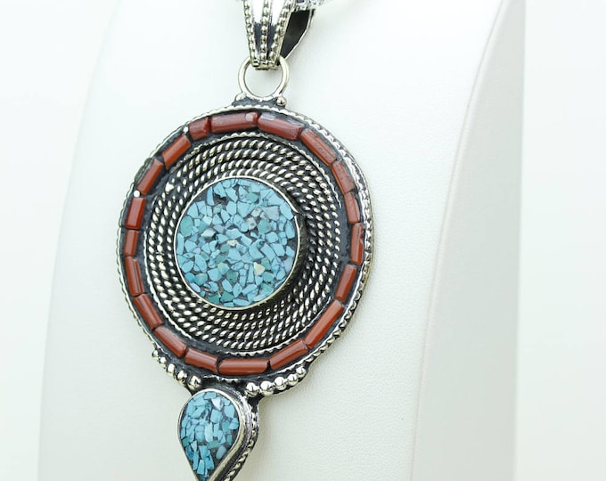 Final SALE! Round Shaped with Winged Corners Coral Turquoise Native Tribal Ethnic Tibet Jewelry OXIDIZED Silver Pendant + Chain P3966