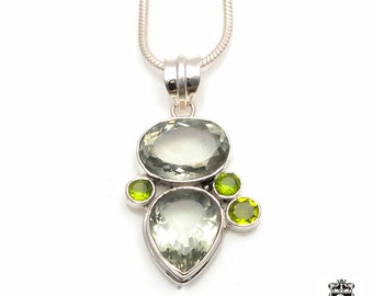 34 Carats GENUINE Green Amethyst PRASIOLITE Fine 925+ 975 S0LID Sterling Silver Pendant + Snake Chain P6080