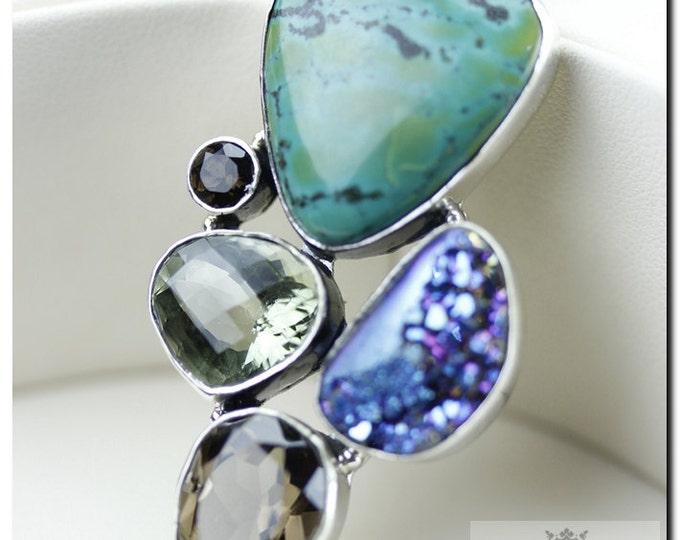 Tibetan Turquoise Titanium Window Drusy PRASIOLITE Smoky Topaz 925 SOLID Sterling Silver Pendant + 4mm Snake Chain & FREE Worldwide Shipping