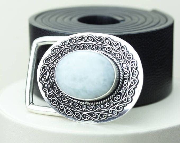 Oval Shaped GENUINE Caribbean LARIMAR Vintage Filigree Antique 925 Fine S0LID Sterling Silver + Copper BELT Buckle T18