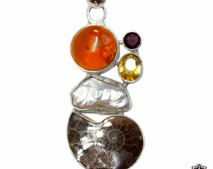 Ammonite fossil Amber Pearl Citrine Amethyst 925 Sterling Silver + BONDED Copper Pendant Snake Chain & Worldwide Shipping p4846