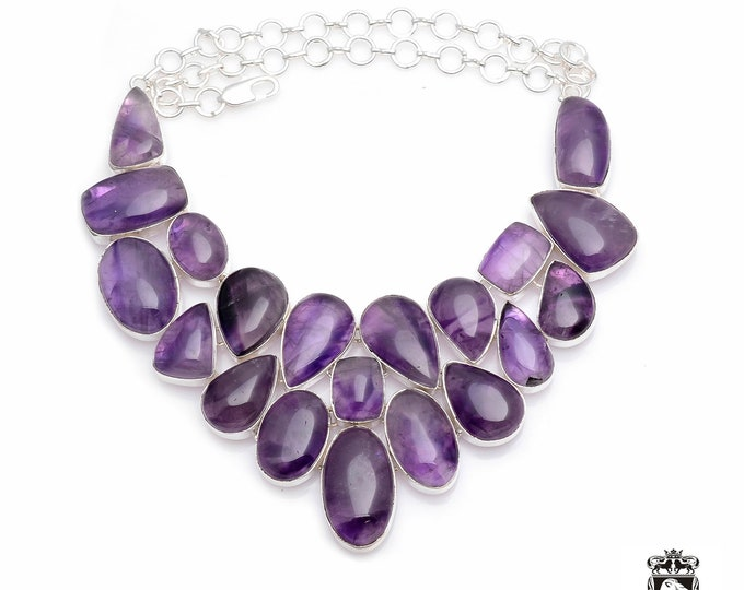 All NATURAL (NO treatement used) African AMETHYST Multi-Layered with inclusions Chunky 925 Sterling Silver + Copper Bonded Necklace N0054