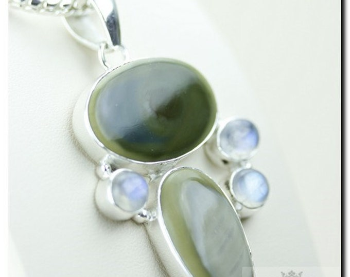 IMPERIAL Jasper RAINBOW MOONSTONE 925 Solid Sterling Silver Pendant + 4mm Snake Chain & Free Worldwide Shipping P1746