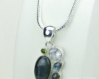 Labradorite Clear Topaz Peridot 925 S0LID Sterling Silver Pendant + 4mm Snake Chain & Free Worldwide Shipping p3435