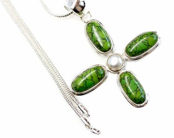 Stay Positive! Green Turquoise Pearl 925 Sterling Silver + BONDED Copper Pendant Snake Chain & Worldwide Shipping p4547