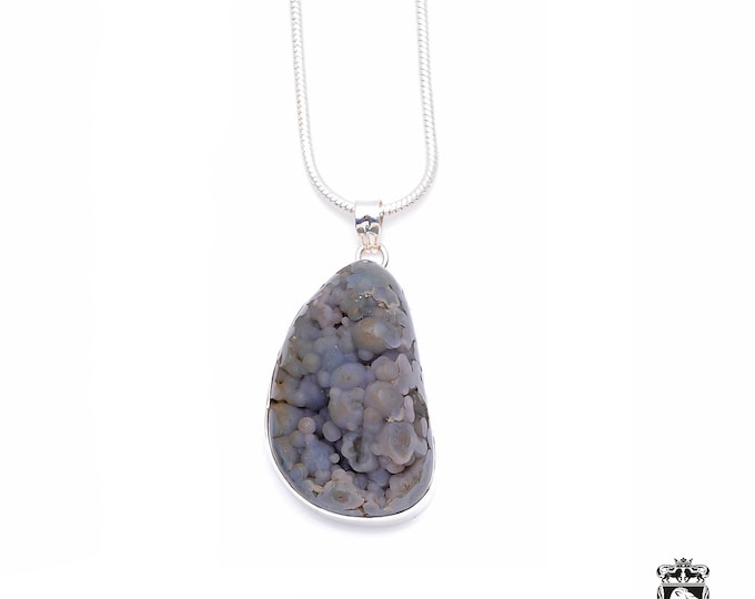3D Pattern! Amazing formation GRAPE AGATE Fine 925+ 975 S0LID Sterling Silver Pendant + Snake Chain P6246