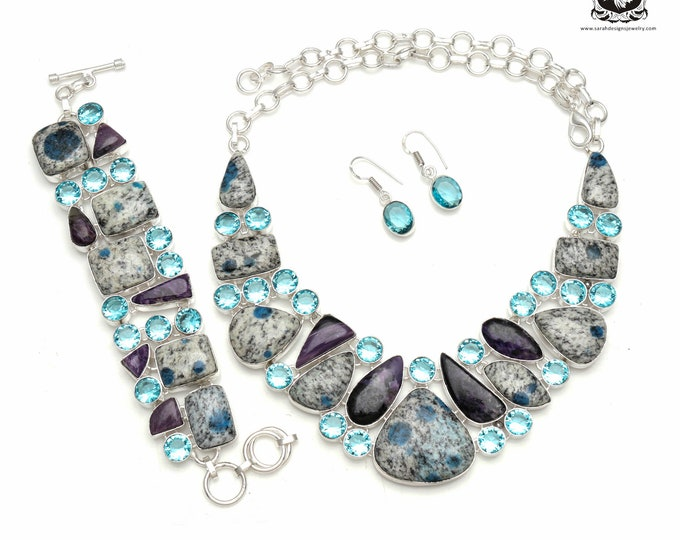 Look what we have here! CHAROITE K2 Jasper Blue Topaz 925 Sterling Silver + Copper Bonded Necklace Bracelet & Earrings ALL Included SET569
