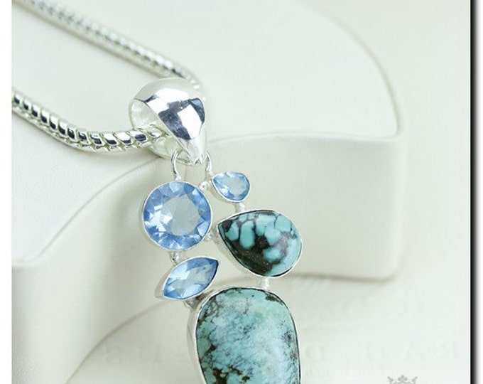 Made in Italy! Tibet Turquoise Lab Created Blue Topaz 925 SOLID Sterling Silver Pendant + 4mm Snake Chain P1877