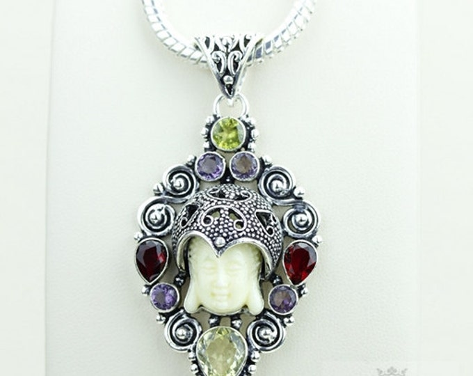 Treat Yourself! Kwan Yin Guanyin BUDDHA Goddess Face Moon Face 925 S0LID Sterling Silver Pendant + 4MM Chain & Free Shipping p3818