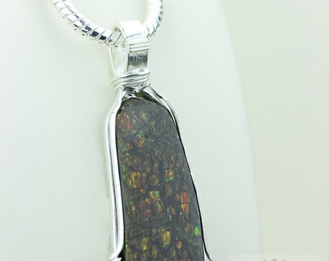 Wire-Wrap Design! GENUINE Canadian AMMOLITE 925 S0LID Sterling Silver Pendant + 4MM Snake Chain & FREE Worldwide Express Shipping A10