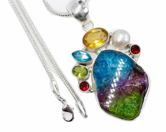 Earth Color Agate Geode Drusy STALACTITE Peridot Citrine 925 Sterling Silver + BONDED Copper Pendant Snake Chain & Worldwide Shipping p4541