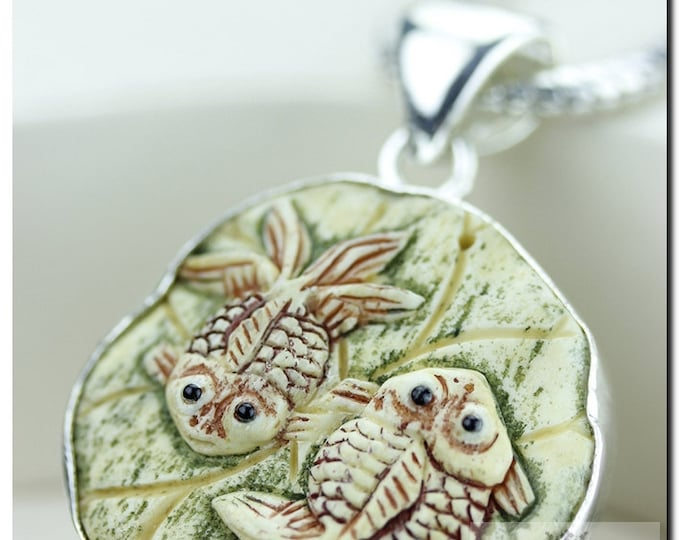 Two Fish Carving 925 SOLID Sterling Silver Pendant & 4mm Snake Chain + FREE Worldwide Shipping