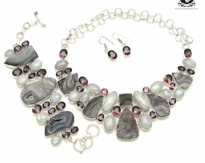 Glamorous! Desert DRUSY Drusy MOONSTONE Mystic Topaz 925 Sterling Silver + Copper Bonded Necklace Bracelet & Earrings ALL Included SET538
