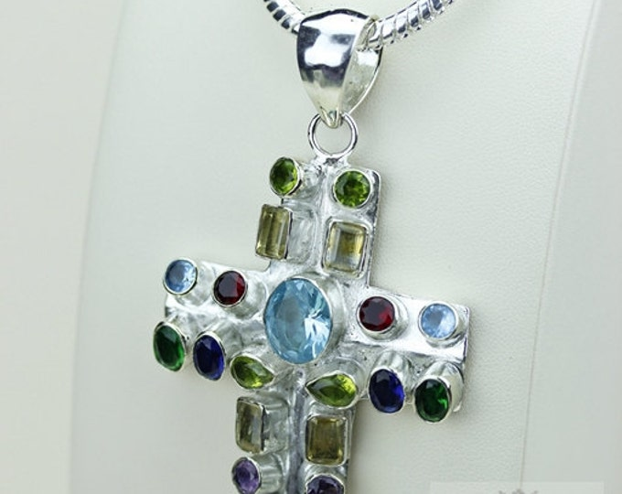 Multi-Stone Combination! Aquamarine Garnet Peridot Citrine 925 S0LID Sterling Silver Pendant + 4MM Snake Chain Free Worldwide Shipping P3480