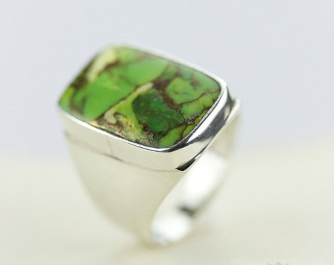 SIZE 6 ARIZONA TURQUOISE (Nickel Free) 925 Fine Sterling Silver Ring & Free Worldwide Express Shipping r89