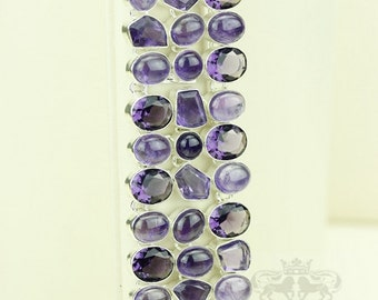 Triple Layered AAA Grade African AMETHYST 925 S0LID Sterling Silver Bracelet & FREE Worldwide Express Shipping B1776