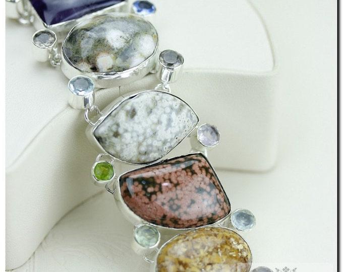 MADAGASCAR Ocean Jasper AFGHAN Lapis Lazuli SUGILITE 925 Solid Sterling Silver Bracelet + Free Worldwide Shipping B1216