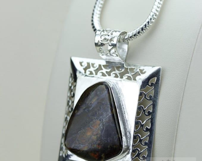 Filigree Setting! GENUINE Canadian AMMOLITE 925 Solid Sterling Silver Pendant + 4mm Snake Chain & FREE Worldwide Shipping P1474