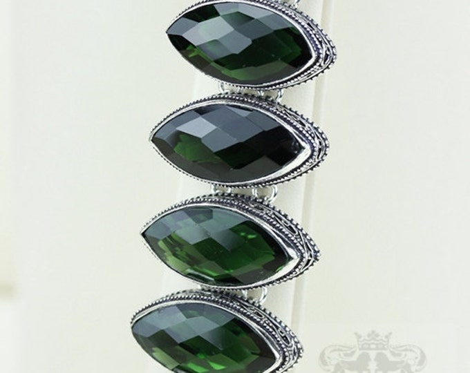 LAB Created 312 Carats Combined EMERALD 925 S0LID Sterling Silver Vintage Style Bracelet & FREE Worldwide Express Shipping b1821