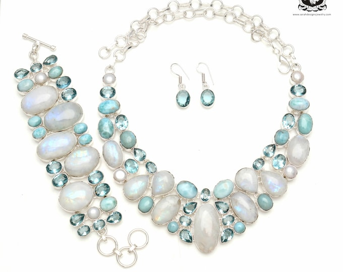 Compete with the Best! Moonstone Larimar Blue Topaz 925 Sterling Silver + Copper Bonded Necklace Bracelet & Earrings ALL Included SET585