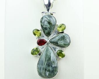 Seraphinite Combined with garnet and peridot 925 S0LID Sterling Silver Pendant + 4MM Snake Chain & Worldwide Shipping p4086