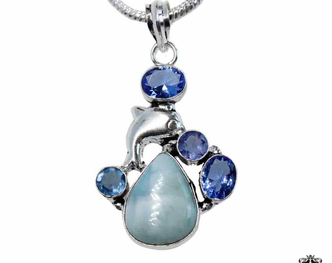 Tear Drop Larimar Blue Topaz Iolite 925 Sterling Silver + BONDED Copper Pendant Snake Chain & Worldwide Shipping p4837