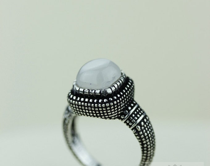 SIZE 5.5 Ceylon MOONSTONE 925 S0LID (Nickel Free) Sterling Silver Vintage Setting Ring r1767