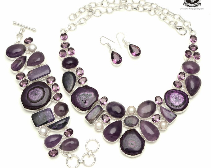 Purple is back in Style! Amethyst STALACTITE 925 Sterling Silver + Copper Bonded Necklace Bracelet & Earrings ALL Included SET530