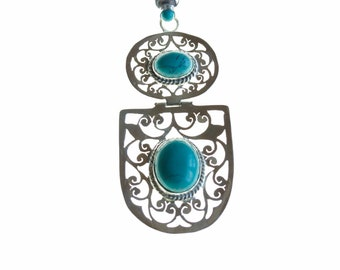 Elegant Piece! Antique Filigree Turquoise Coral 925 Sterling Silver + BONDED Copper Pendant Chain & Worldwide Shipping p4488